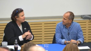 Dr Jann Karp with Journalist Peter Greste at the University of Wollongong, September 2015